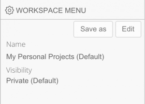 workspace save menu